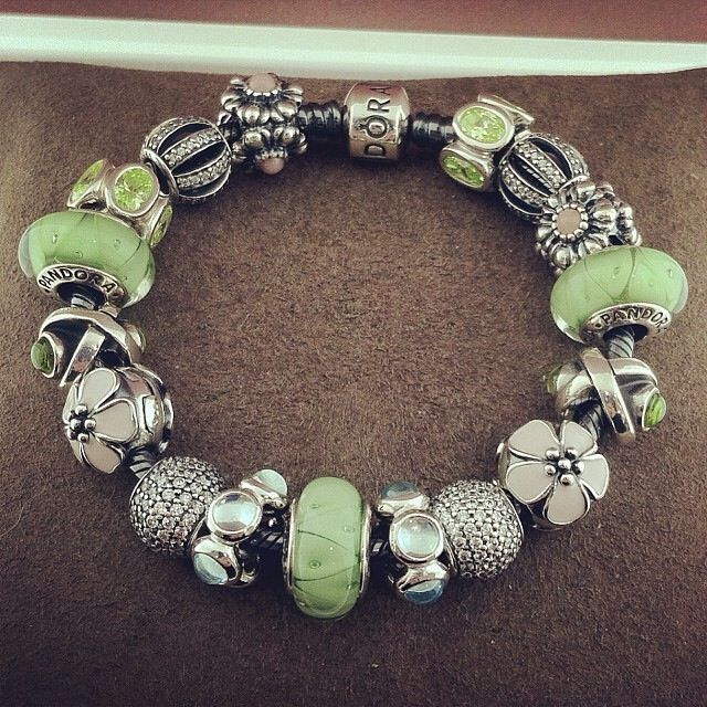 PANDORA Bracelet. Pale Pink and Apple Green Colours.