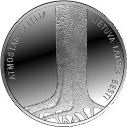 Latvian colector silver 5 euro coin dedicated to the 25th anniversary of the Baltic Way (reverss)