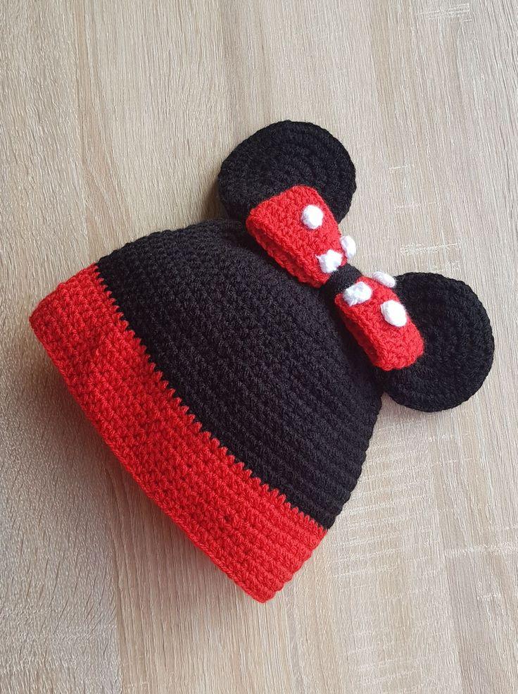 15 Caciulita Minnie Mouse Disney caciula crosetata stoc fes cu urechi copii copil fetita rosu negru neagra Kiko
