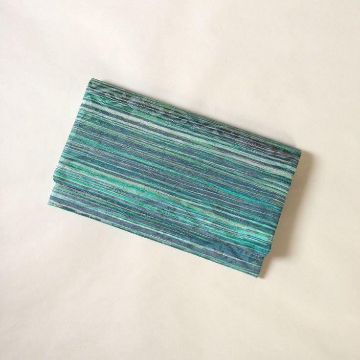 絹手染懐紙入れ(横・緑深緑茶色)