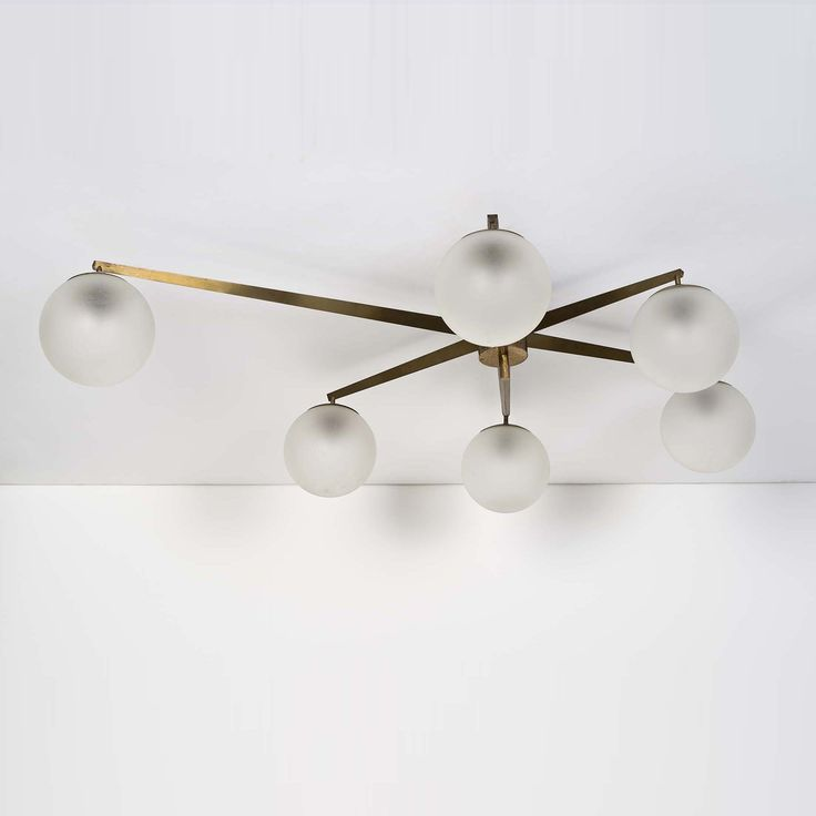 Angelo Lelli; Brass and Opaline Ceiling Light for Arredoluce, 1958.