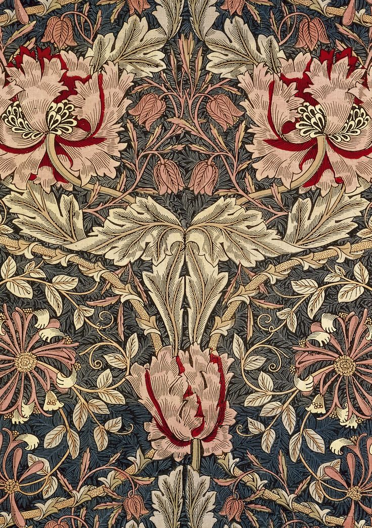 Diseño de papel de pared  de William Morris  (movimiento arts & crafts ). Siglo XIX, Inglaterra. #Esmadeco.