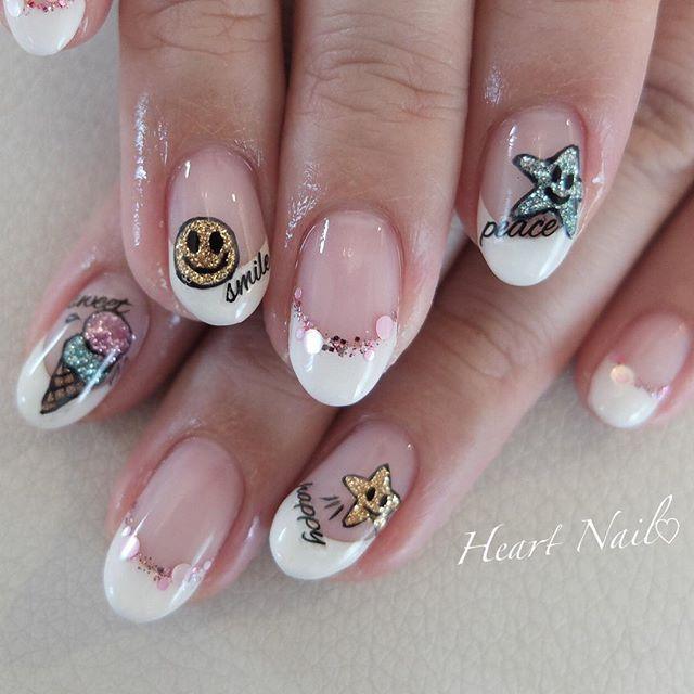 キラキラワッペン風ネイル♡ #nails#nail#nailart#nailstagram#gelnails#nailart#ネイル#ネイルアート#ネイルデザイン#大人可愛い#フレンチネイル#ジェルネイル#シンプルネイル#野田市#ワッペン