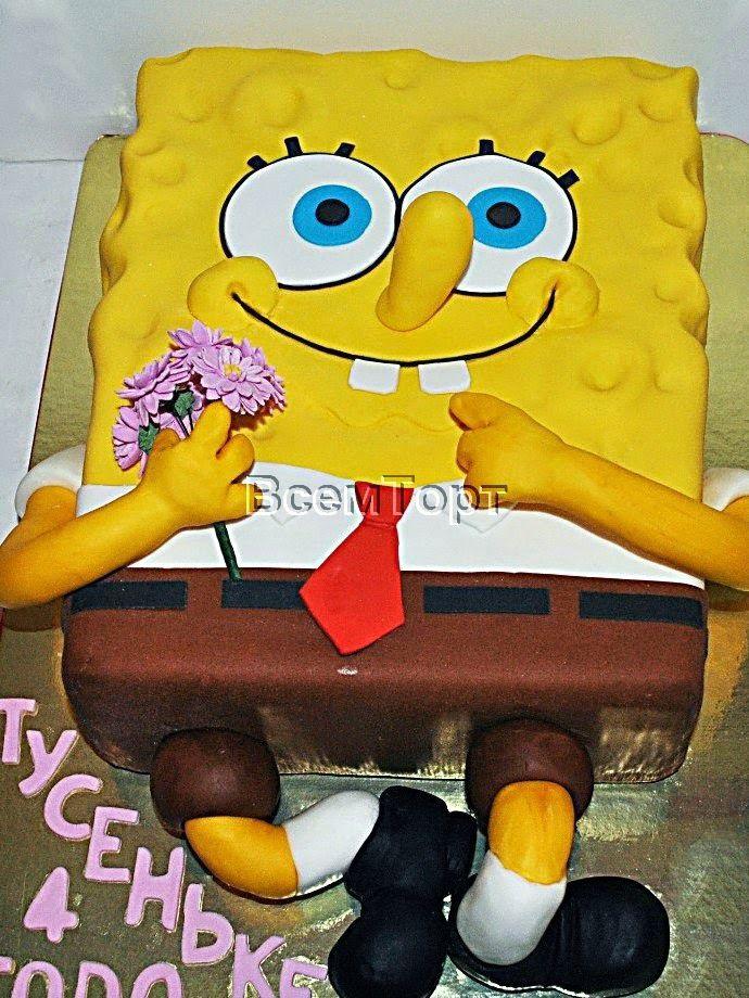 Торт Губка Боб.Заказ торта в Москве на день рождения для детей