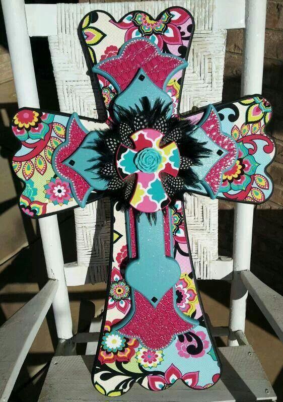 Pink & Turquoise cross