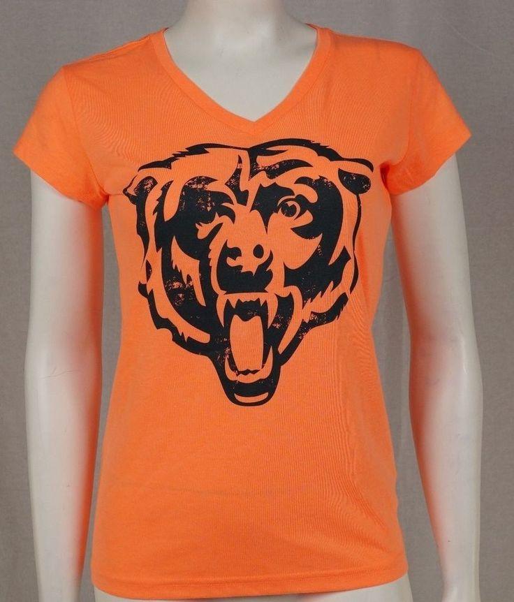 GIII 4her Women NFL Chicago Bears Neon Orange V-Neck T-Shirt  #GIII #Bears