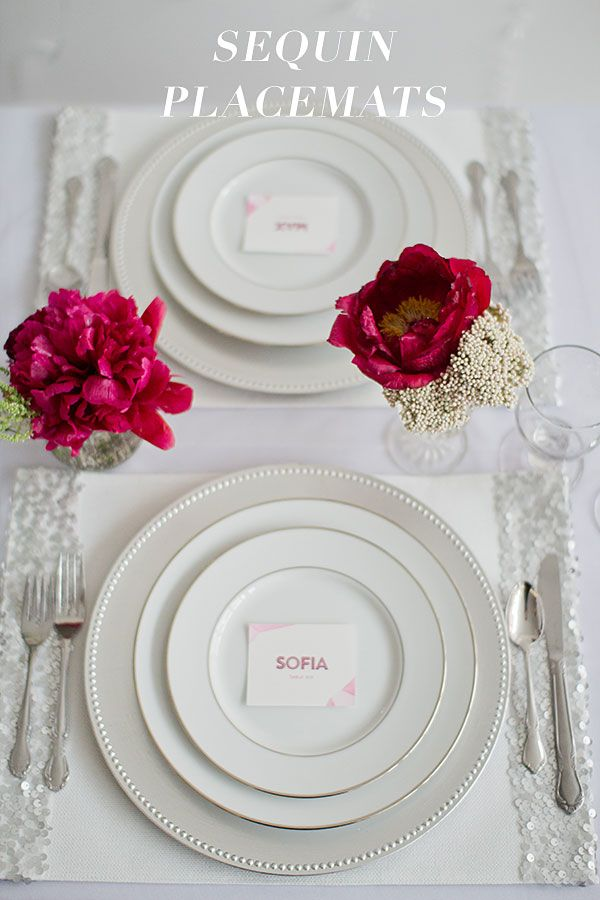 Beautiful DIY Sequin Placemats on the Ruffled Blog