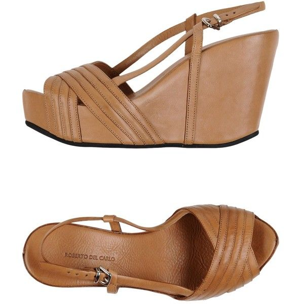 Roberto Del Carlo Sandals (250 CHF) ❤ liked on Polyvore featuring shoes, sandals, camel, wedge heel sandals, animal shoes, leather shoes, wedge heel shoes and camel wedge sandals