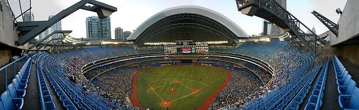 Rogers Centre (formerly known as SkyDome) is a multi-purpose stadium, in Downtown Toronto, Ontario, Canada, situated next to the CN Tower, near the shores of Lake Ontario. Opened in 1989, it is home to the Toronto Blue Jays of Major League Baseball