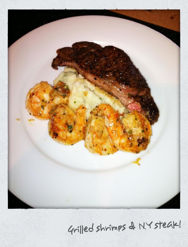 NY steak, Mesh potato, Grill shrimps