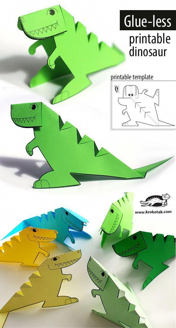 Free Printable Glue Less Dinosaur Template 3dprinterchildren