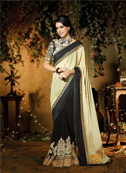 Classic creamy with magical black Georgette Wedding Lehenga Saree