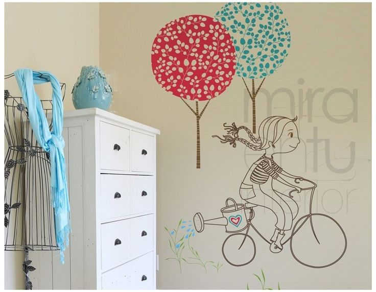 Vinilo ni a en bicicleta vinilos decorativos para for Vinilos decorativos para ninas