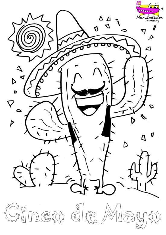 Cactus Mexicano para colorear el 5 de Mayo; Cinco de Mayo para niños, Feliz Cinco de Mayo!!! http://www.manualidadesinfantiles.org/cactus-mexicano-para-colorear-el-5-de-mayo