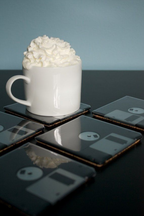 Floppy Disk Coasters - Black Set of 5 - Geeky Father's Day Gift on Etsy, $25.00