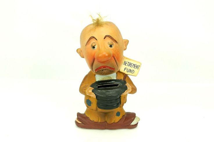 Vintage Retirement Fund Hobo Bum Ceramic Piggy Coin Bank
