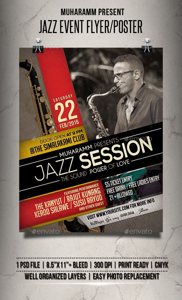jazz event flyer    poster template psd