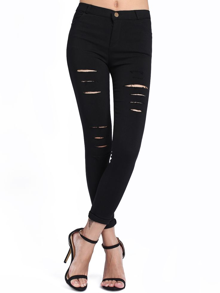 Online shopping for Black Skinny Cut-out Leggings from a great selection of women's fashion clothing & more at MakeMeChic.COM.