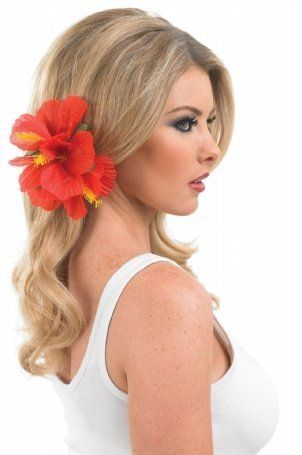 Ladies Hawaiian Hula Girl Flower Hair Clip Fancy Dress Accessory Costume Outfit (Red): Amazon.co.uk: Clothing