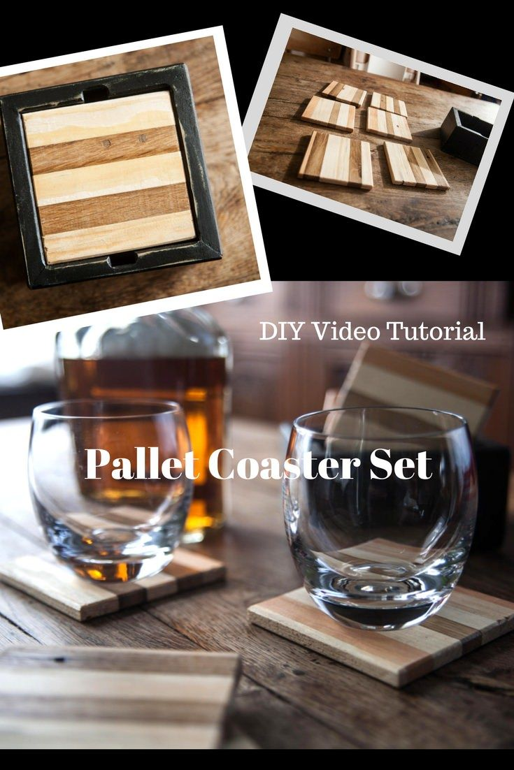Raise your glasses (and set them down) on a set of stunning Pallet Coasters with an attractive caddy! Alternate pine & oak for a two-toned look! #palletcoasters #diypalletgiftideas #diyvideotutorial #makethisyourself #palletsrock! via @1001Pallets