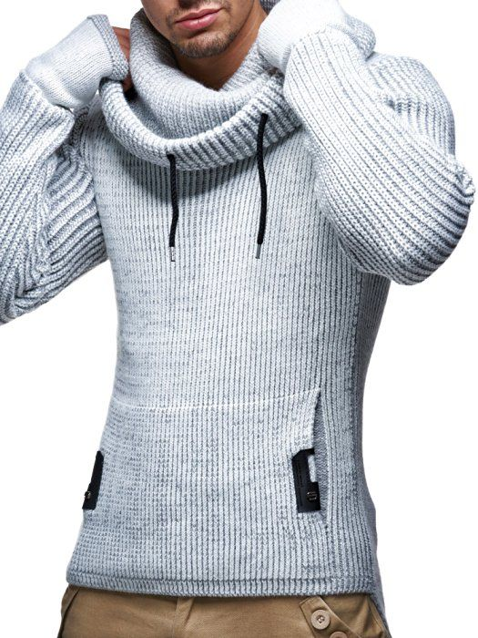 LEIF NELSON Men's Knitted Pullover Small Anthracite