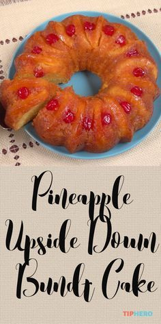 Pineapple Upside Down Bundt Cake Recipe | Pineapples, cherries, yellow cake mix, and vanilla pudding mix come together perfectly in this tropical inspired dessert. Perfect for summer gatherings!