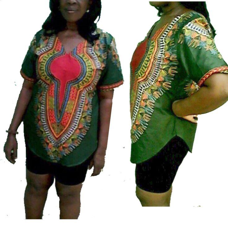 Ladies Kaftan Dashiki Shirt Womens Dashiki Top Small To XXL Dashiki Shirts In Various Dashiki Colours Made To Fit