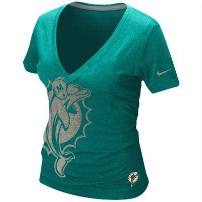 Miami Dolphins Ladies Reverse Logo Premium T-Shirt