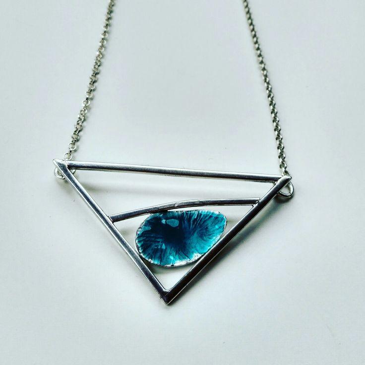 Silver pendant withblue enamel