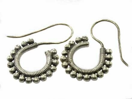 Thai Karen Hilltribe silver Tribal hoop earrings by KarenCottage.