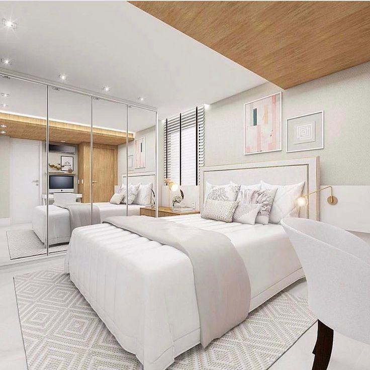 """44 curtidas, 3 comentários - Apto 161 (@apto161) no Instagram: """"Que quarto lindo  Branco + Cinza + Madeira + Dourado = Não tem erro! . . Projeto: @arqalessasena…"""""""