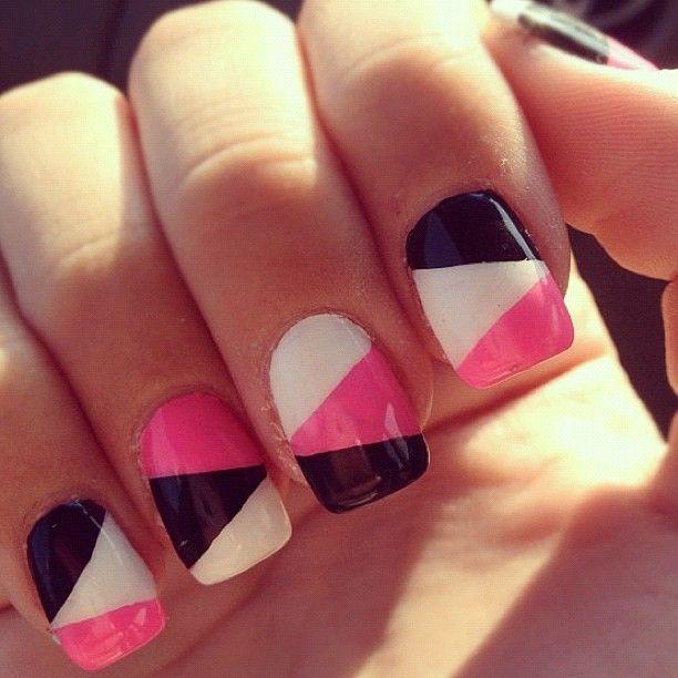 Nails Art - Pink,white,black