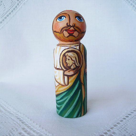 Saint St Jude Thaddeus the Jesus Apostle Martyr Catholic Christian Religious Painted Wooden Peg Children Doll Toy Hospital Patron Medallion