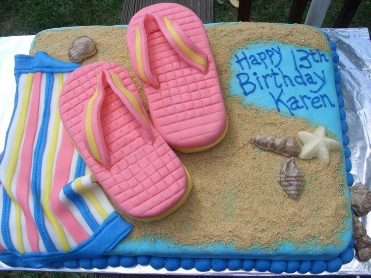 Flip Flop Birthday Cake  on Cake Central