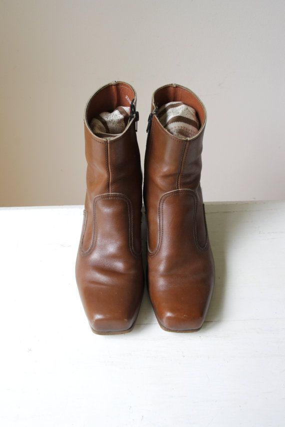 SOLD Vintage leather boots/ mens brown leather shoes/ neutral leather shoes/ short casual boots/ retro mens fashion/ unique gift for him https://www.etsy.com/au/shop/RetroandRosesvintage