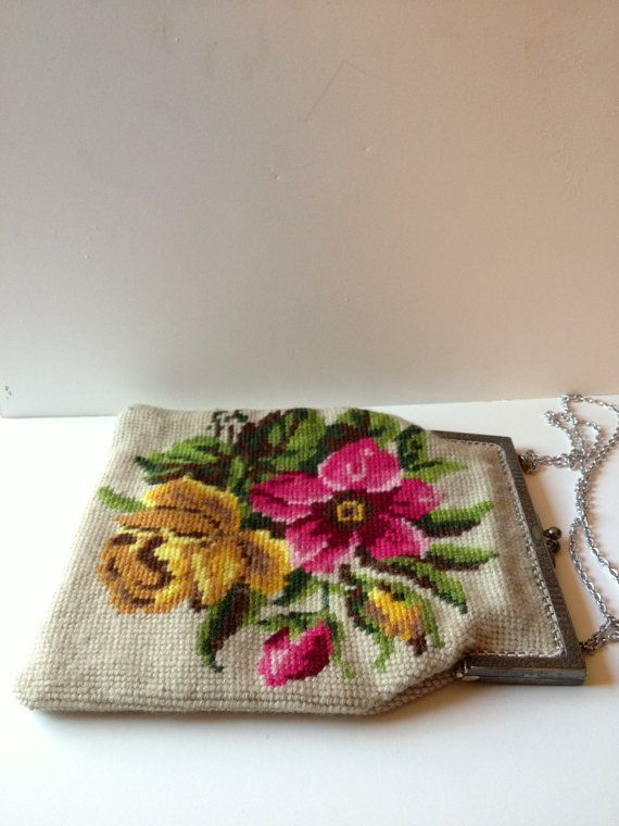 Beautiful Floral Needlepoint Vintage Purse on Etsy.