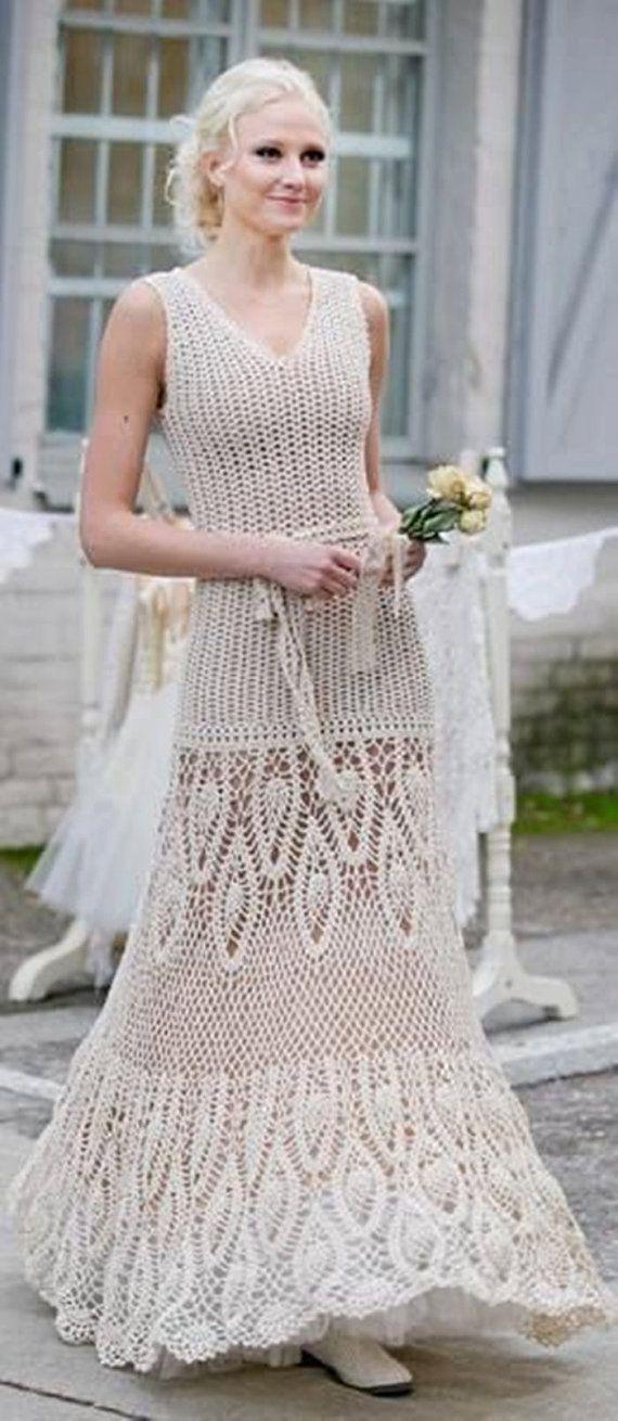 Long wedding dress in ecru crochet / custom by AnnieCrochetFashion