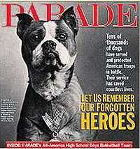 America's First and most decorated War Dog. http://en.wikipedia.org/wiki/Sergeant_Stubby Here is a link about him. Talk about tugging at your heartstrings!