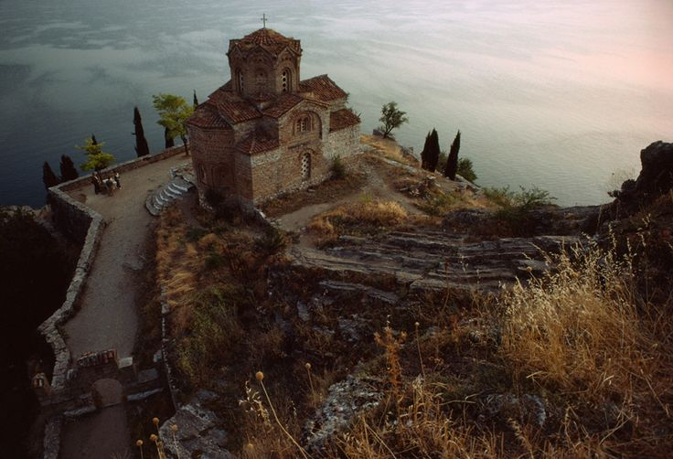 St. John Bigorski overlooking Lake Ohrid in Macedonia, Yugoslavia, April 1982. St. John Bigorski sits perched atop a rocky precipice overlooking Lake Ohrid in Macedonia, Yugoslavia, April 1982. JAMES L. STANFIELD, NATIONAL GEOGRAPHIC