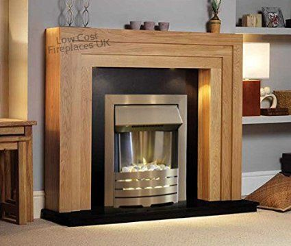 electric oak wood surround silver fire black hearth back. Black Bedroom Furniture Sets. Home Design Ideas