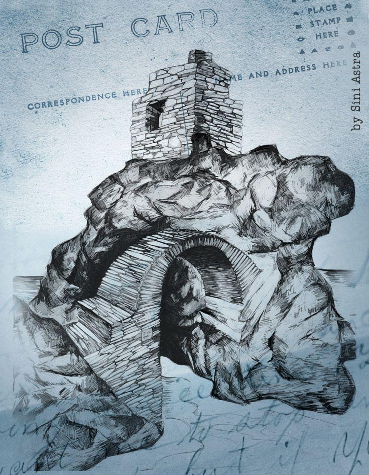 Ενετικό Κάστρο στη Χώρα της Άνδρου. Σκίτσο / Σύνη Αστρά  #MikraAgglia