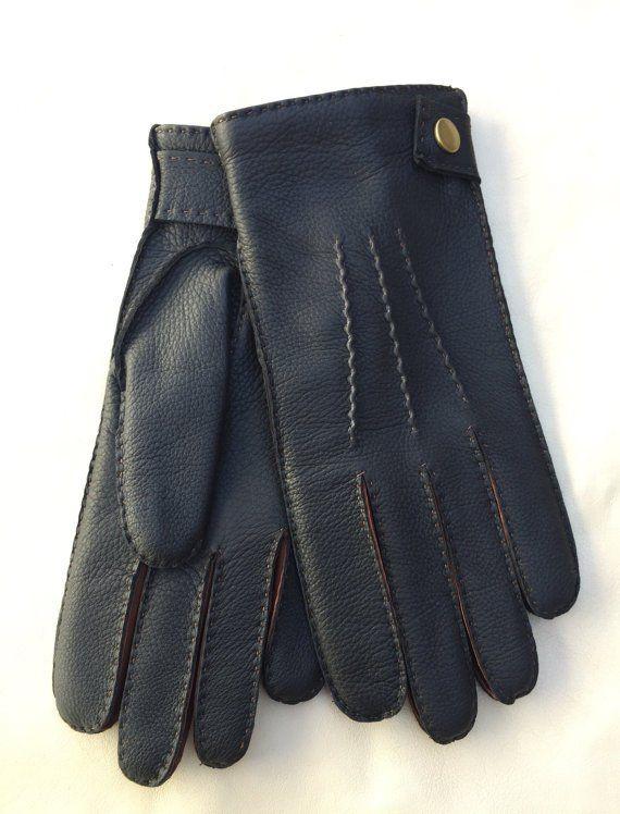 Men's+Deerskin+Winter+Gloves+Handsewn+Black+Brown+deer-skin+Driving+Wool+lining+Size+9+inhces+L