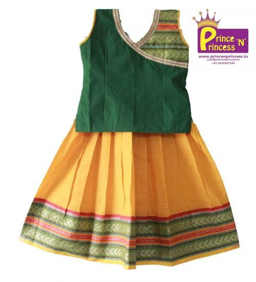 BUY Kids South India style Cotton Lehenga @ www.princenprincess.in #south #india #pavadai #pavadai #cotton #pavada #silk #pattu
