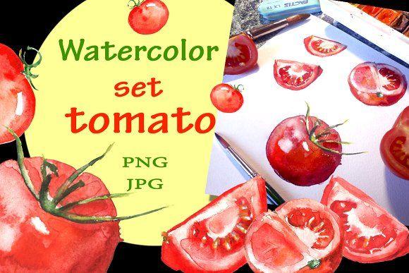 Watercolor set tomato by helgafo on @creativemarket