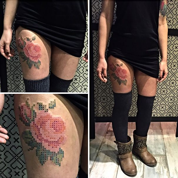 Cross Stitch Tattoos Prove That X Truly Marks the Spot -  #artist #EvaKrbdk #tattoos