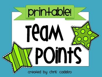 Printable Team Points- classroom/ behavior management system printables- $