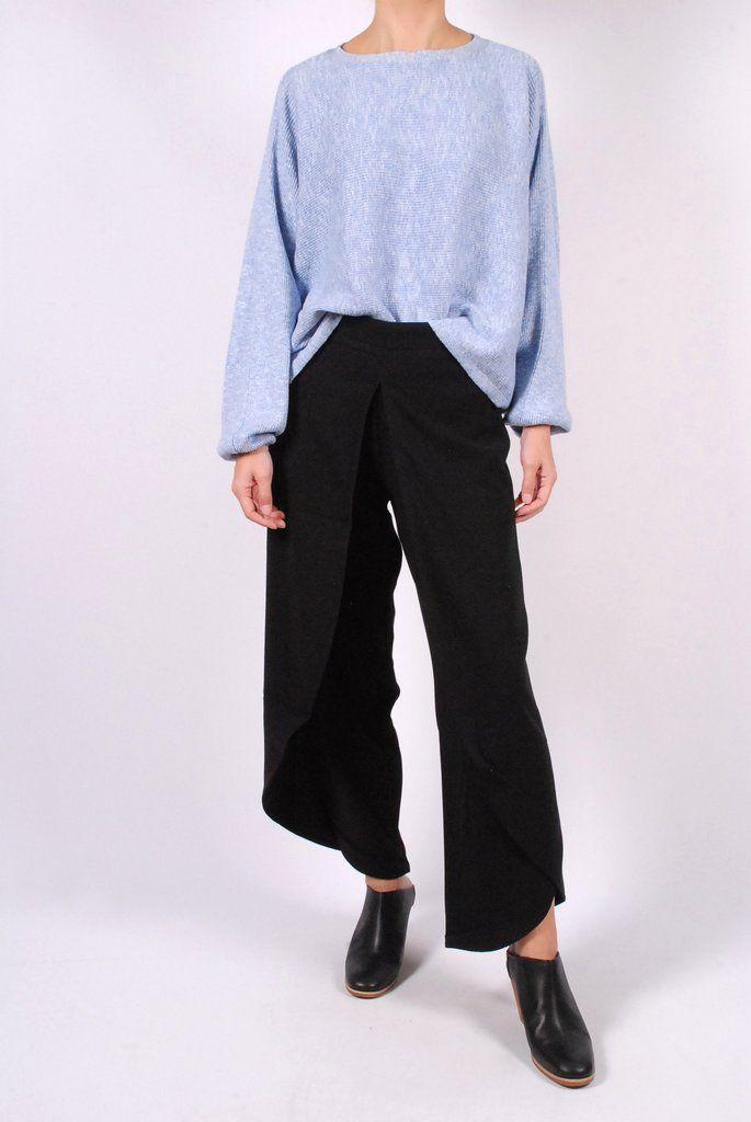 Rodebjer Dalia Cropped Sweater + Nala Crepe Trousers + Rachel Comey Mars Mules
