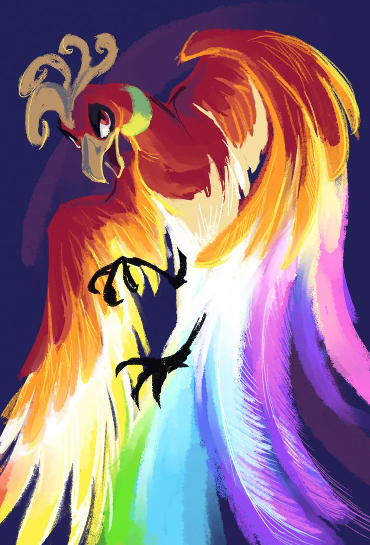 """bedupolker: 30 minute doodle, break from finals x.x I always thought it would've been cool if Ho-Oh lived up to it's """"Rainbow"""" theme (It kinda does in the anime buuuut)"""