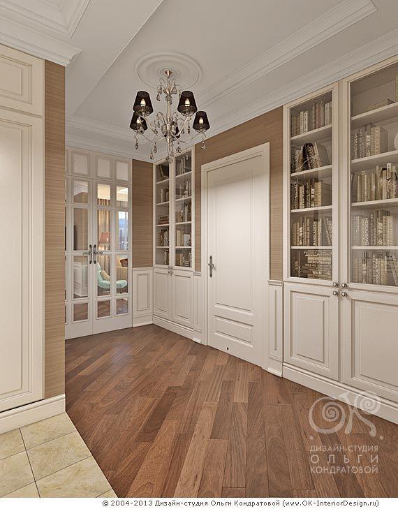 Отличная стена: встроенные шкафы, панели в нижней части - в тему, и всё в одном стиле