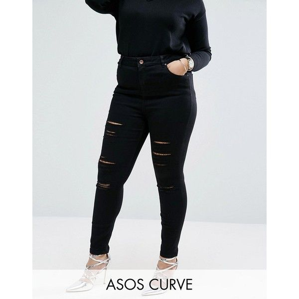 ASOS CURVE Ridley Skinny Ankle Grazer Jeans in Clean Black with... ($53) ❤ liked on Polyvore featuring jeans, black, plus size, high waisted ripped jeans, tall skinny jeans, plus size high waisted jeans, plus size ripped jeans and high-waisted skinny jeans